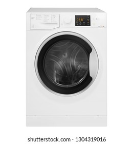 Washing Machine Isolated on White Background. Front View of White Front Load Washer Dryer 8kg Wash Dry Load and 1400rpm Spin Speed Energy A++ Class. Domestic and Household Appliance. Home Innovation