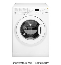 Washing Machine Isolated on White Background. Front View of White Front Load Washer with 8kg Wash Load and 1400rpm Spin Speed Energy Class A++. Domestic and Household Appliance. Home Innovation