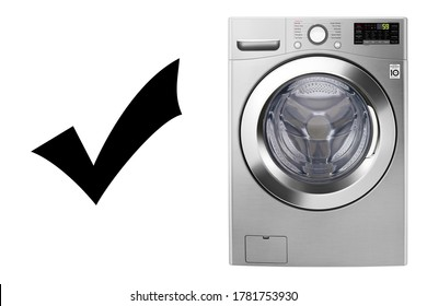 Washing Machine Isolated on White Background. Household Domestic Major Appliance Front View. Home Innovation. Stainless Steel Modern Front Load Washer with Electronic Control Panel - Shutterstock ID 1781753930