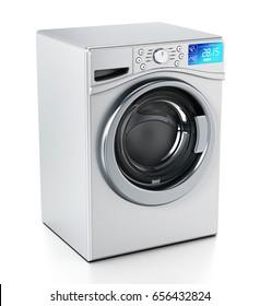 Washing machine isolated on white background. 3D illustration.