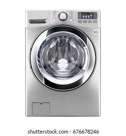 Washing Machine Isolated on White Background. Front View of Stainless Steel Front Load Washer with Electronic Control Panel. Domestic Appliances. Clipping Path