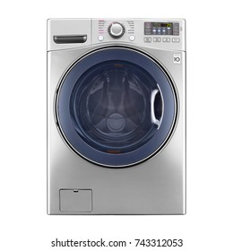 Washing Machine Isolated on a White Background. Front View of Stainless Steel Washer Machine. Modern Front Load Washing Machine with Electronic Control Panel. Domestic Appliances. Household Appliances