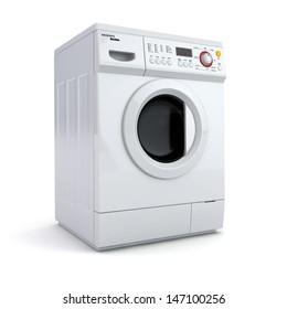 Washing machine on white isolated background. 3d