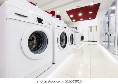 Washing machines, refrigerators and other home related appliance or equipment in the retail store showroom