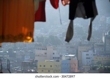 Washing on a line, Rocinha favela, Rio