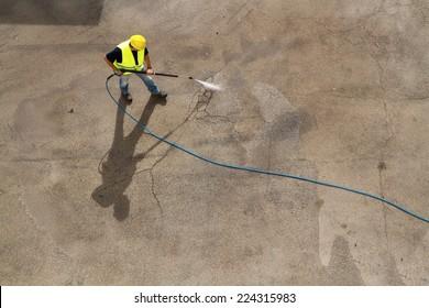 washing pavement