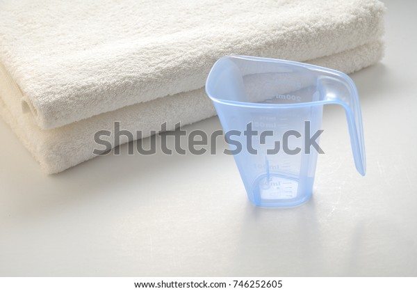 Washing powder for white cloths on a white background