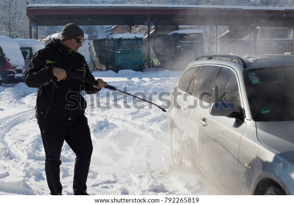 Washing Car In Winter >> Washing Side Car Winter Sun Glasses Stock Photo Edit Now