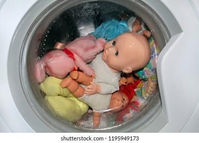 washing toys in the washing machine