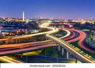 Washingon, DC, USA  skyline at night.