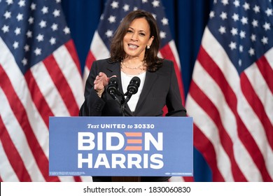 WASHINGTON, AMERICA - AUGUST 27, 2020: Senator Kamala Devi Harris, is in talks for a rebuttal response to the Republican National Convention, as well as talks about the failure of President Trumb.