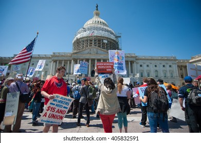 WASHINGTON â?? APRIL 14: Demonstrators rally at the U.S. Capitol  as part of an event sponsored by Democracy Spring in Washington, DC on April 14, 2016