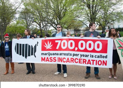 WASHINGTON APRIL 2:  Protesters rally in support of the legalization of marijuana in front of the White House in Washington DC on April 2, 2016.