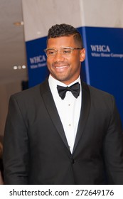 WASHINGTON APRIL 25 â?? Quarterback Russell Wilson arrives at the White House Correspondentsâ?? Association Dinner April 25, 2015 in Washington, DC