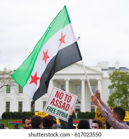 WASHINGTON APRIL 7:  Protesters rally against waging war on Syria in Washington DC on April 7, 2017