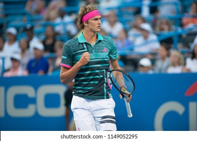 WASHINGTON – AUGUST 1: Alexander Zverev (GER) defeats Malek Jaziri (TUN) at the Citi Open tennis tournament on August 1, 2018 in Washington DC