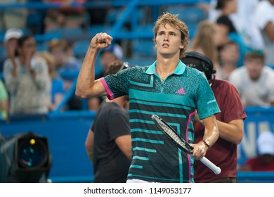 WASHINGTON – AUGUST 1: Alexander Zverev (GER) celebrates his win over Malek Jaziri (TUN) at the Citi Open tennis tournament on August 1, 2018 in Washington DC