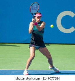 WASHINGTON – AUGUST 1: Andrea Petkovic (GER) defeats Sloane Stephens  (USA) at the Citi Open tennis tournament on August 1, 2018 in Wahsington DC