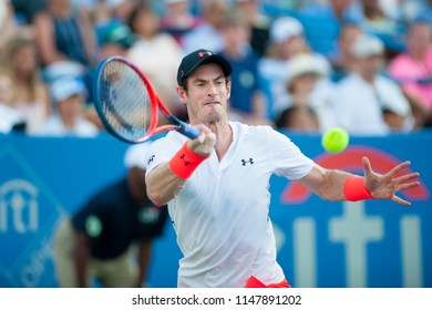 WASHINGTON – AUGUST 1: Andy Murray (GBR) defeated Kyle Edmund (GBR) at the Citi Open tennis tournament on August 1, 2018 in Washington DC