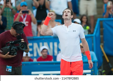 WASHINGTON – AUGUST 1: Andy Murray (GBR) celebrates his win over fellow Brit Kyle Edmund at the Citi Open tennis tournament on August 1, 2018 in Washington DC