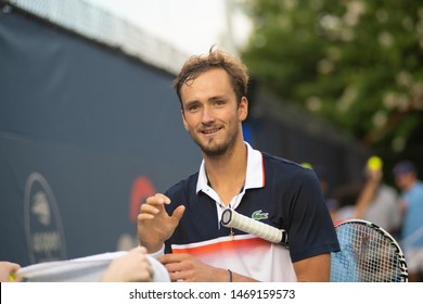 WASHINGTON – AUGUST 1: Daniil Medvedev (RUS) defeats Frances Tiafoe (USA, not pictured) at the Citi Open tennis tournament on August 1, 2019 in Washington DC