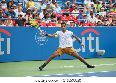 WASHINGTON – AUGUST 1: Felix Auger-Aliassime (CAN) falls to  Marin Cilic (CRO, not pictured) at the Citi Open tennis tournament on August 1, 2019 in Washington DC
