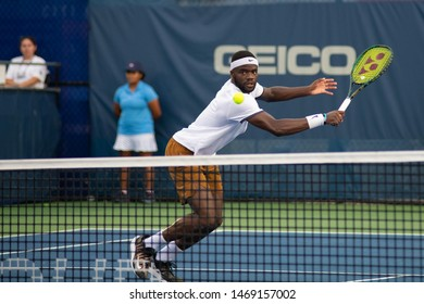 WASHINGTON – AUGUST 1: Frances Tiafoe (USA) falls to Daniil Medvedev (RUS, not pictured) at the Citi Open tennis tournament on August 1, 2019 in Washington DC