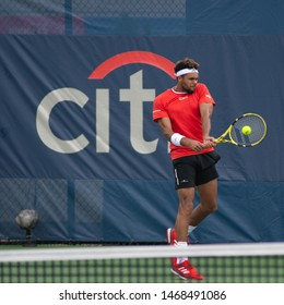 WASHINGTON – AUGUST 1: Jo-Wilfried Tsonga (FRA) falls to Kyle Edmund (GBR, not pictured) at the Citi Open tennis tournament on August 1, 2019 in Washington DC
