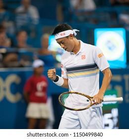 WASHINGTON – AUGUST 1: Kei Nishikori (JPN) defeats Donald Young (USA) at the Citi Open tennis tournament on August 1, 2018 in Washington DC