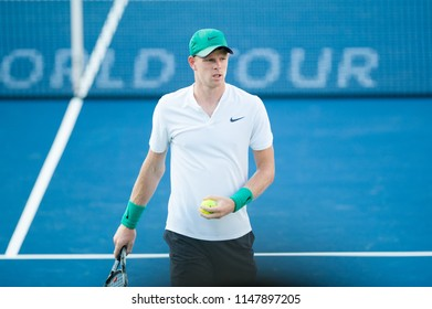 WASHINGTON – AUGUST 1: Kyle Edmund  (GBR) falls to Andy Murray (GBR) at the Citi Open tennis tournament on August 1, 2018 in Washington DC