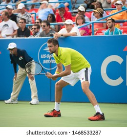 WASHINGTON – AUGUST 1: Marin Cilic (CRO) defeats Felix Auger-Aliassime (CAN, not pictured) at the Citi Open tennis tournament on August 1, 2019 in Washington DC