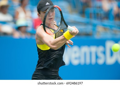 WASHINGTON – AUGUST 1: Simona Halep (ROU)  defeats Sloane Stephens (USA, not pictured) at the Citi Open tennis tournament on August 1, 2017 in Washington DC