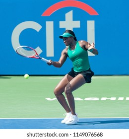 WASHINGTON – AUGUST 1: Sloane Stephens  (USA) falls to Andrea Petkovic (GER) at the Citi Open tennis tournament on August 1, 2018 in Washington DC