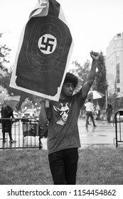 WASHINGTON AUGUST 12:  One of the counter protesters who outnumbered the white nationalists at the Unite the Right rally on August 12, 2018 in Washington DC