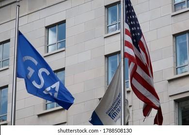 WASHINGTON - AUGUST 2, 2020: GSA GENERAL SERVICES ADMINISTRATION flag outside International Trade building