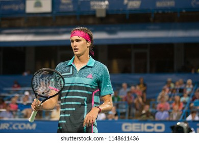 WASHINGTON – AUGUST 2: Alexander Zverev (GER) defeats his brother Mischa Zverev (GER) at the Citi Open tennis tournament on August 2, 2018 in Washington DC