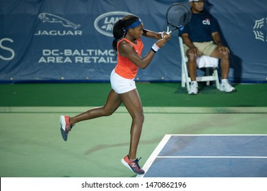 WASHINGTON – AUGUST 2: American Coco Gauff during doubles play with Caty McNally at the Citi Open tennis tournament on August 2, 2019 in Washington DC