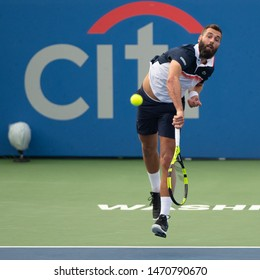 WASHINGTON – AUGUST 2: Benoit Paire (FRA) falls to Stefanos Tsitsipas (GRE, not pictured) at the Citi Open tennis tournament on August 2, 2019 in Washington DC