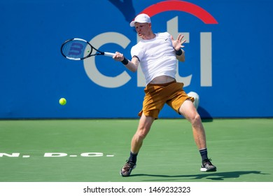 WASHINGTON – AUGUST 2: Kyle Edmund (GBR) falls to Peter Gojowczyk (GER, not pictured) at the Citi Open tennis tournament on August 2, 2019 in Washington DC