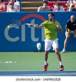 WASHINGTON – AUGUST 2: Marin Cilic (CRO) falls to Daniil Medvedev (RUS, not pictured) at the Citi Open tennis tournament on August 2, 2019 in Washington DC