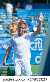 WASHINGTON – AUGUST 2: Peter Gojowczyk (GER) defeats Kyle Edmund (GBR, not pictured) at the Citi Open tennis tournament on August 2, 2019 in Washington DC