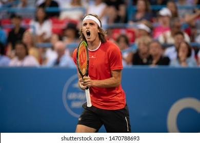 WASHINGTON – AUGUST 2: Stefanos Tsitsipas (GRE) defeats Benoit Paire (FRA, not pictured) at the Citi Open tennis tournament on August 2, 2019 in Washington DC