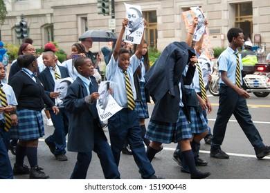 WASHINGTON - AUGUST 28: Schoolchildren participate in the 50th anniversary of the March on Washington August 28, 2013 in Washington DC.