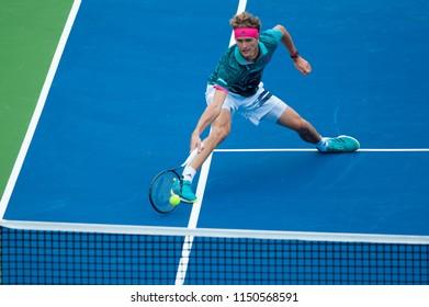 WASHINGTON – AUGUST 3: Alexander Zverev (GER) defeats Kei Nishikori (JPN) at the Citi Open tennis tournament on August 3, 2018 in Washington DC