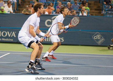 WASHINGTON -AUGUST 3:  Andy Murray (GBR) and doubles partner Daniel Nestor (CAN) during first round doubles play at the Citi Open tennis tournament on August 3, 2015 in Washington DC.