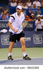 WASHINGTON - AUGUST 3: Andy Roddick (USA) defeats Grega Zemlja (SLO, not pictured) at the Legg Mason Tennis Classic on August 3, 2010 in Washington.