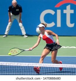 WASHINGTON – AUGUST 3: Anna Kalinskaya (RUS) falls to Jessica Pegula (USA, not pictured) at the Citi Open tennis tournament on August 3, 2019 in Washington DC