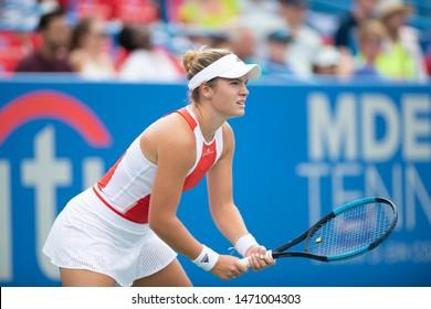 WASHINGTON – AUGUST 3: Caty McNally (USA) falls to Camila Giorgi (ITA, not pictured) at the Citi Open tennis tournament on August 3, 2019 in Washington DC