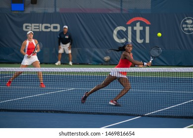 WASHINGTON – AUGUST 3: Coco Gauff (USA) & Caty McNally (USA) defeat Maria Sanchez (USA) and Fanny Stollar (HUN)(not pictured) to win the doubles championship at the Citi Open on August 3, 2019
