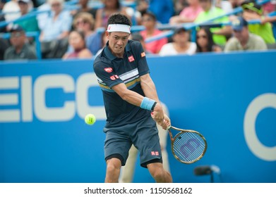 WASHINGTON – AUGUST 3: Kei Nishikori (JPN) falls to Alexander Zverev (GER) at the Citi Open tennis tournament on August 3, 2018 in Washington DC